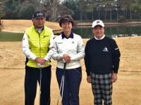 東京オリンピックのゴルフ競技対策本部で尽力している中嶋常幸(左)、小林浩美(中)、倉本昌弘(右)が3人そろってコースを視察ラウンドした