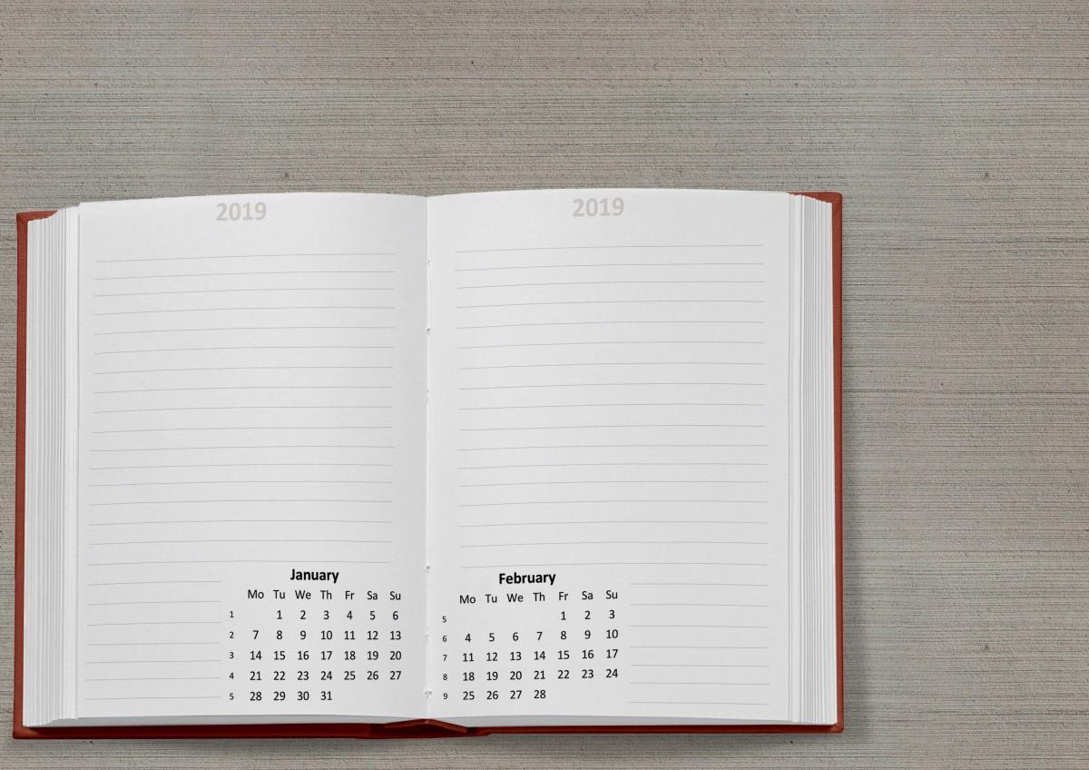 plantillas de calendario 2019