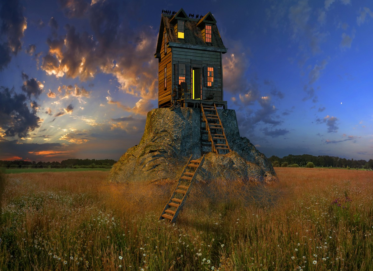 Free Landscape Wallpaper Hd Free Images Old House Stairs Sunset Sky Field