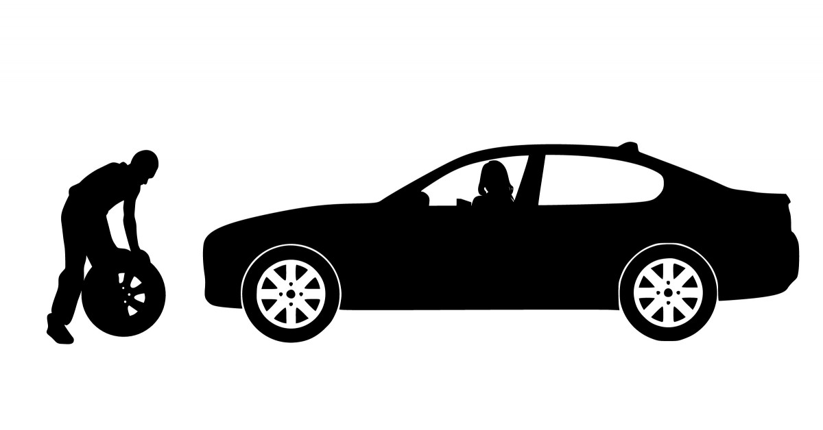 Free Images  car repair silhouette replacement tire