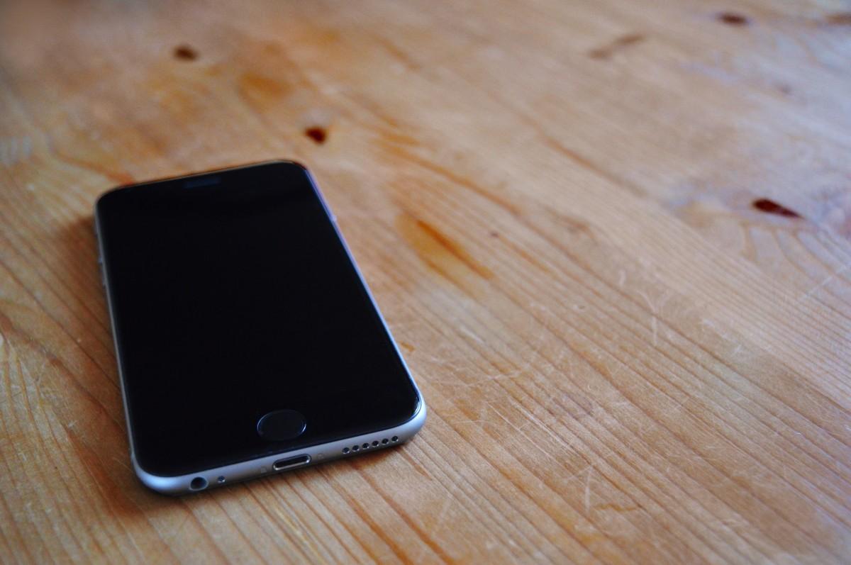 Free Images  desk smartphone hand apple wood