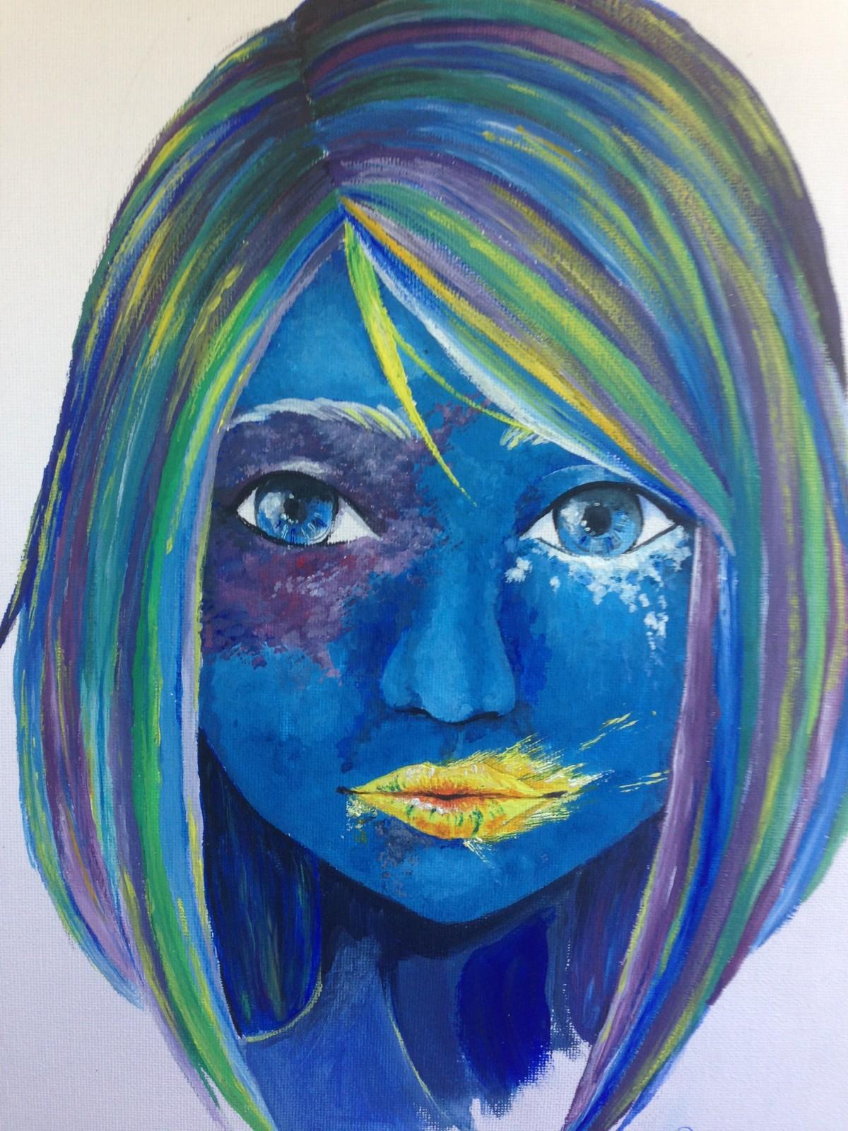 Kostenlose foto  Portrt Farbe blau Material Malerei