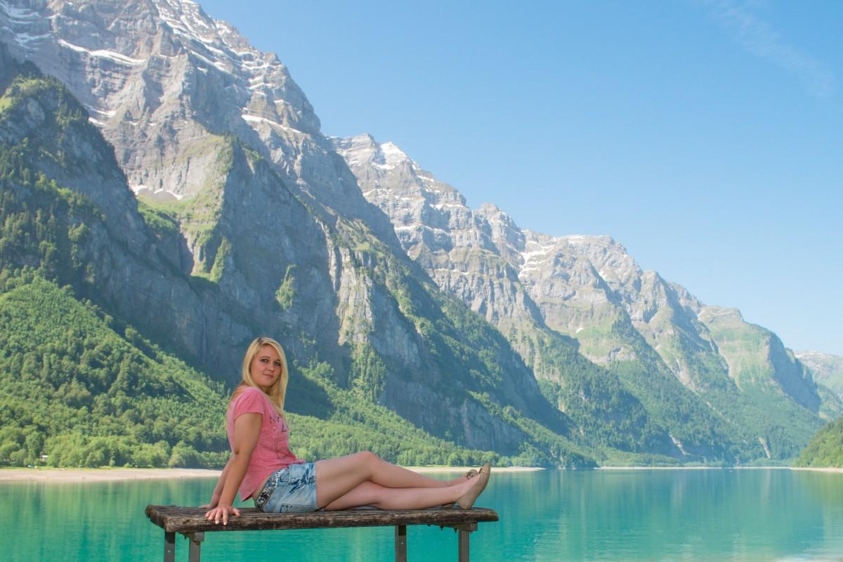 Free Images Woman Lake Mountain Range Summer