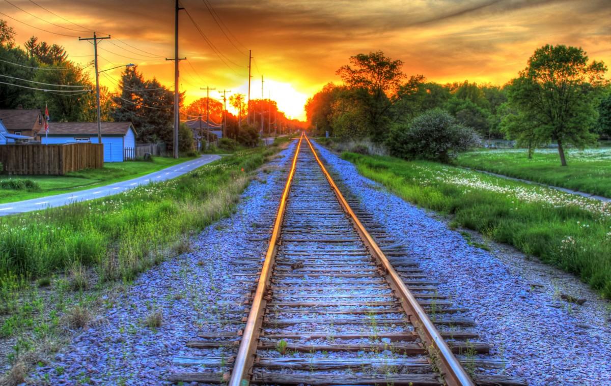 Free Fall Flower Desktop Wallpaper Free Images Cloud Sky Track Railroad Sunset Field