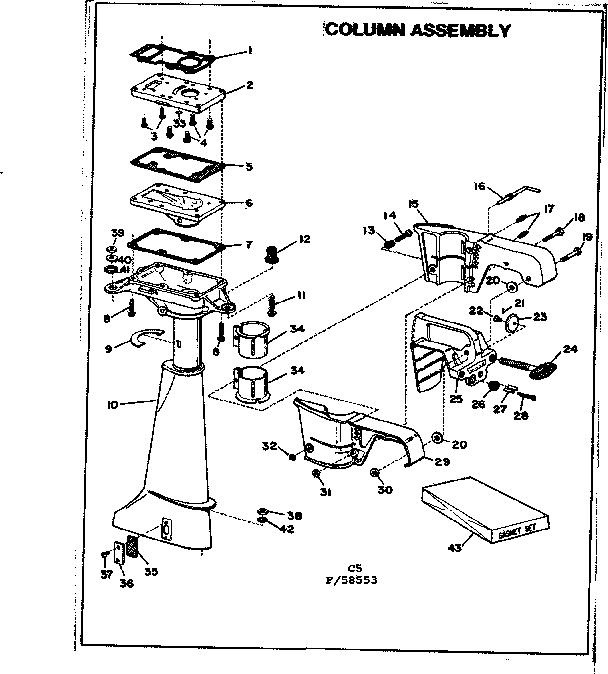 COLUMN ASSEMBLY Diagram & Parts List for Model 14106b Eska