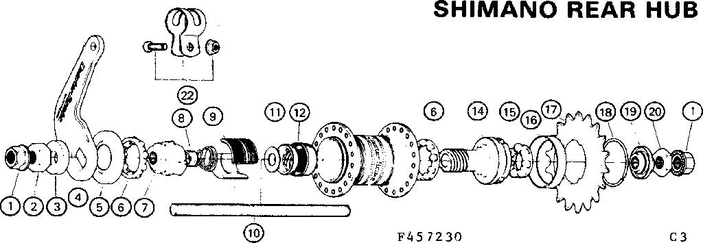 SHIMANO REAR HUB Diagram & Parts List for Model 502457230