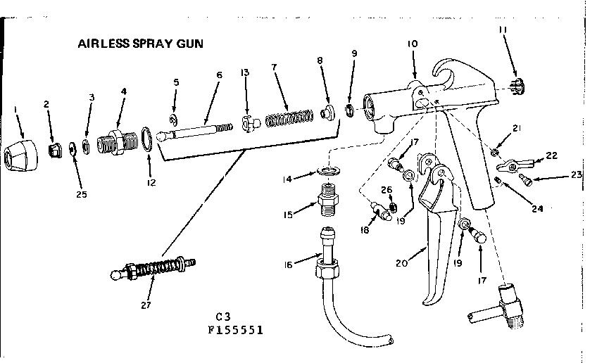 AIRLESS SPRAY GUN Diagram & Parts List for Model 106155551