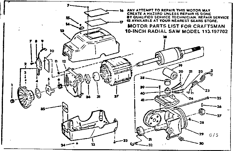 Craftsman 10-inch Radial Saw Leg set f/113.197752 Parts