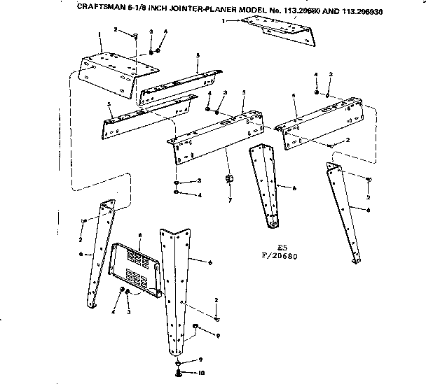 SIDES AND LEG SET Diagram & Parts List for Model 11320680