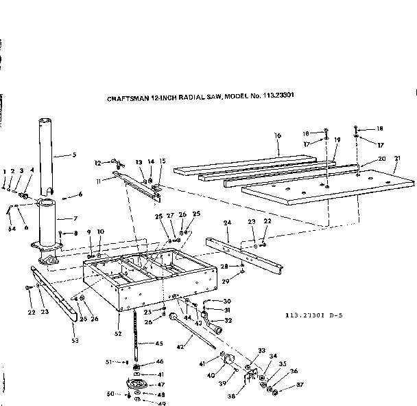 RIP FENCE AND TABLE ASSEMBLY Diagram & Parts List for