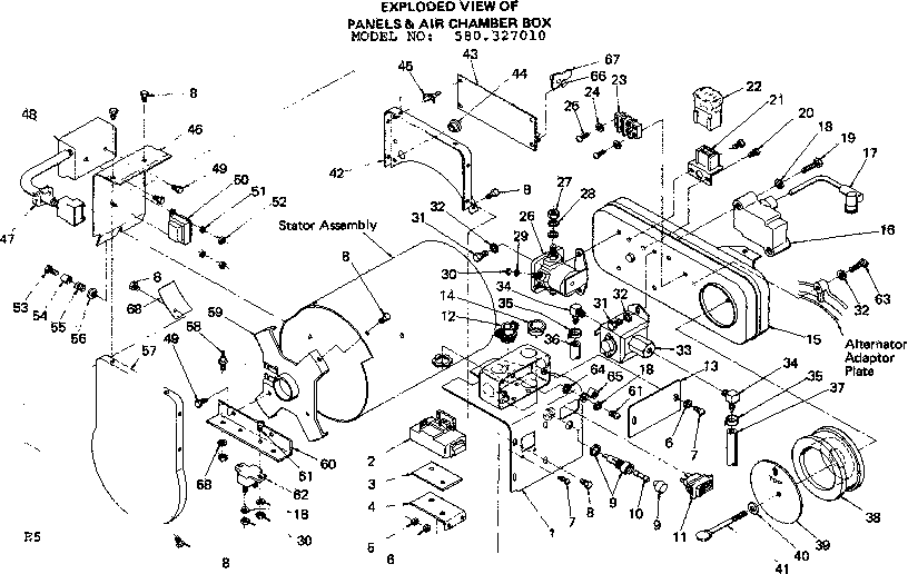 EXPLODED VIEW OF PANELS & AIR CHAMBER BOX Diagram & Parts