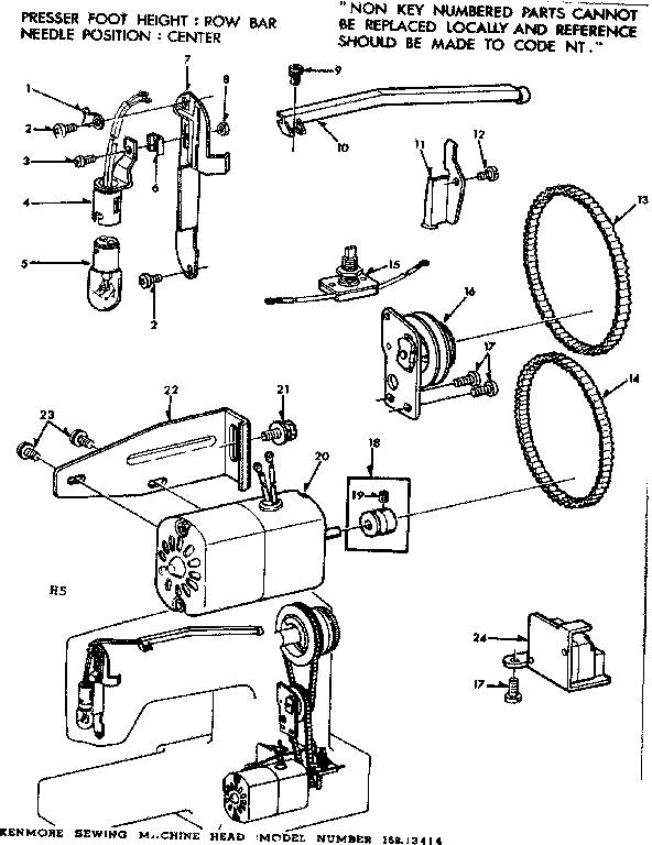 MOTOR ASSEMBLY Diagram & Parts List for Model 15813414