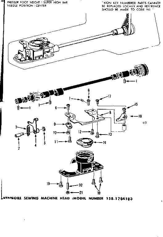 BOBBIN CASE Diagram & Parts List for Model 1581784183