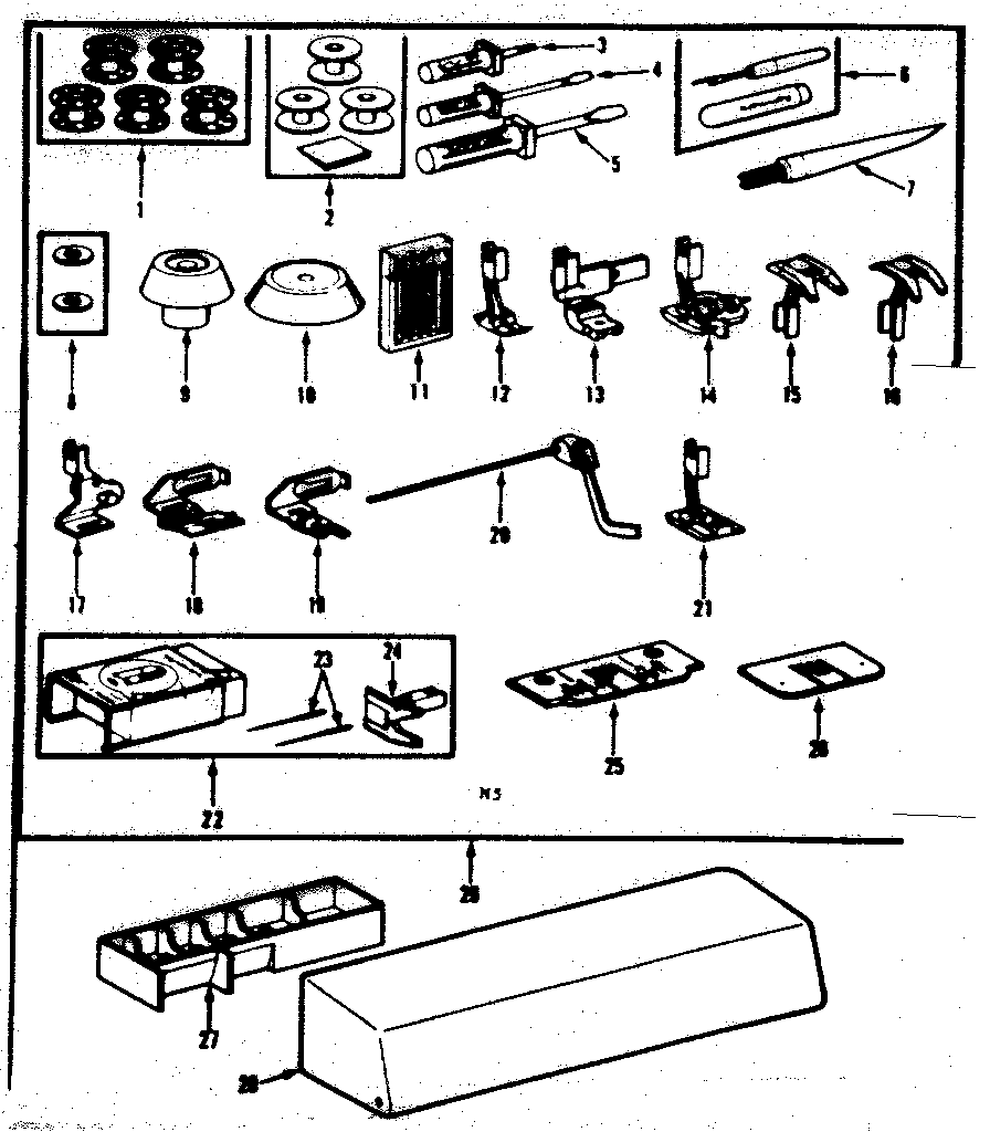 Kenmore Sewing Machine Foot control and template Parts