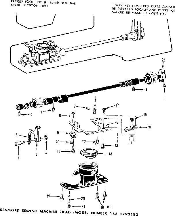 BOBBIN CASE COMPLETE Diagram & Parts List for Model