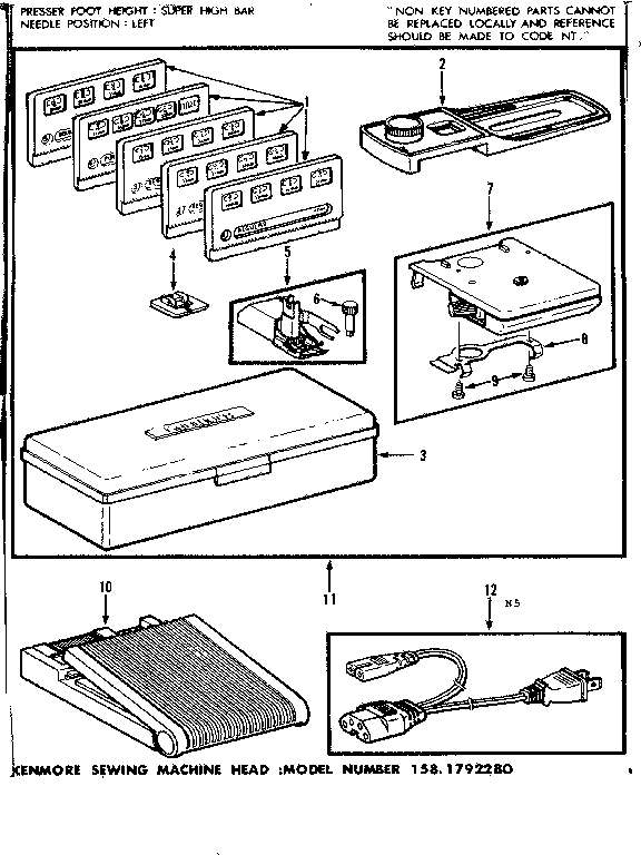 FOOT CONTROL AND TEMPLATES Diagram & Parts List for Model