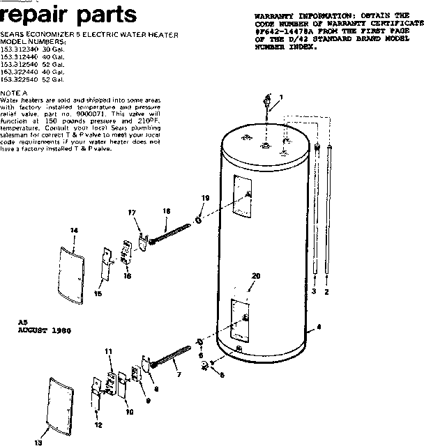 KENMORE SEARS ECONOMIZER 5 ELECTRIC WATER HEATER Parts