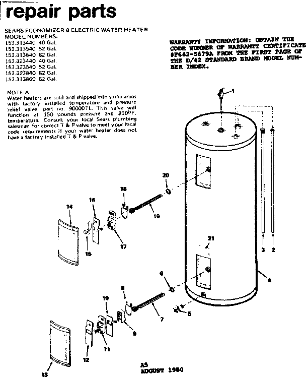 KENMORE SEARS ECONOMIZER 8 ELECTRIC WATER HEATER Parts