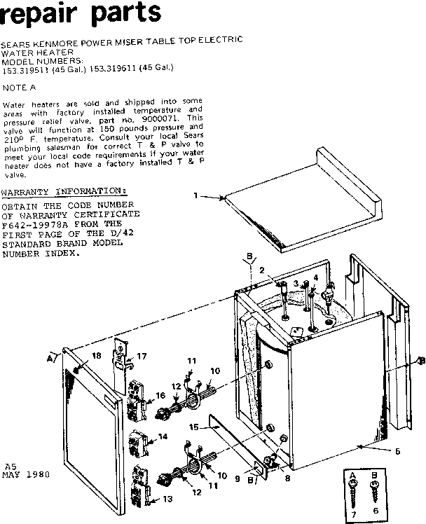 KENMORE SEARS KENMORE POWER MISER TABLE TOP ELECTRIC WATER