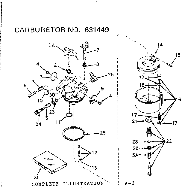 CARBURETOR Diagram & Parts List for Model 502256030
