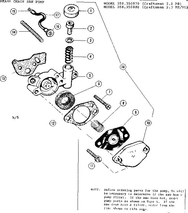 PUMP ASSEMBLY Diagram & Parts List for Model 358350880