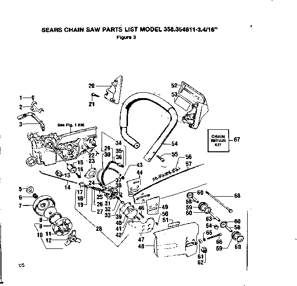 HANDLE ASSEMBLY Diagram & Parts List for Model 358354811