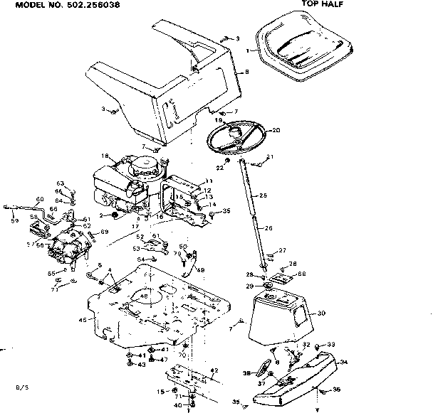 CRAFTSMAN riding lawn mower Wiring diagram Parts Model