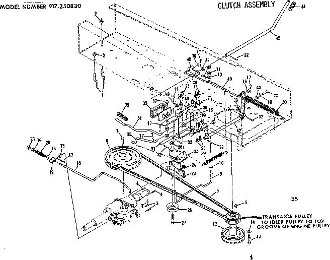 CLUTCH ASSEMBLY Diagram & Parts List for Model 917250830