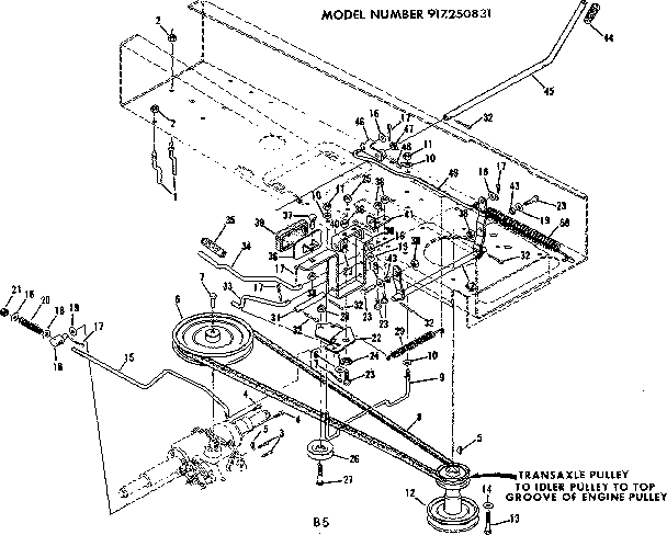 DRIVE ASSEMBLY Diagram & Parts List for Model 917250831