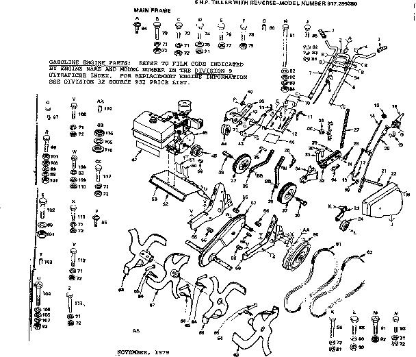 Gilson Rear Tine Tiller Belt Diagram, Gilson, Free Engine