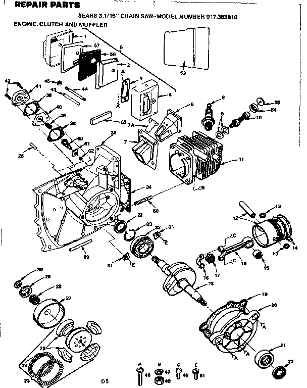 16 IN. CHAIN SAW/ENGINE CLUTCH AND MUFFLER Diagram & Parts