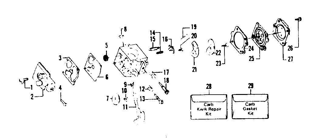 CARBURETOR ASSEMBLY Diagram & Parts List for Model