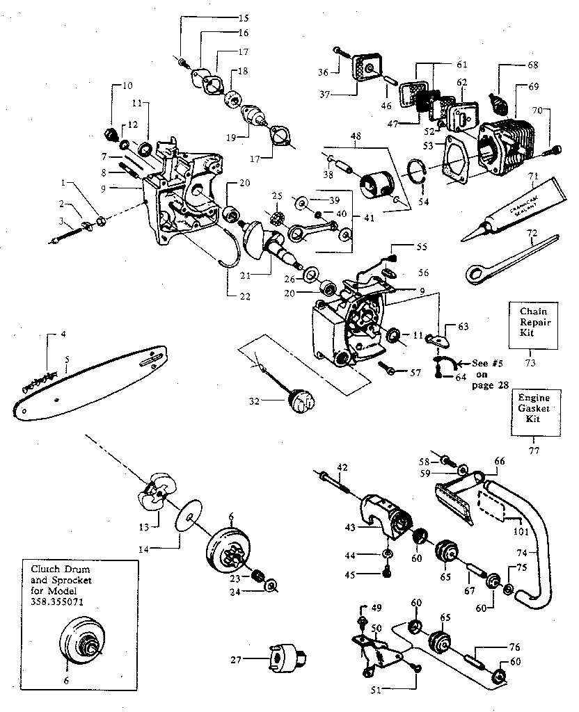 MAIN FRAME Diagram & Parts List for Model 358355061