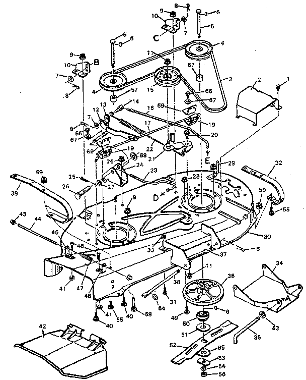 MOWER DECK Diagram & Parts List for Model 502254280