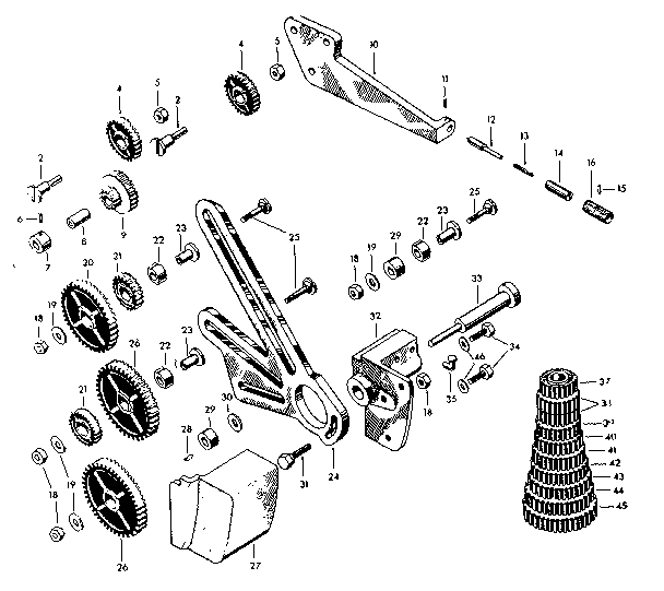 TUMBLER, STANDARD GEAR AND CHANGE GEAR ASSEMBLY Diagram