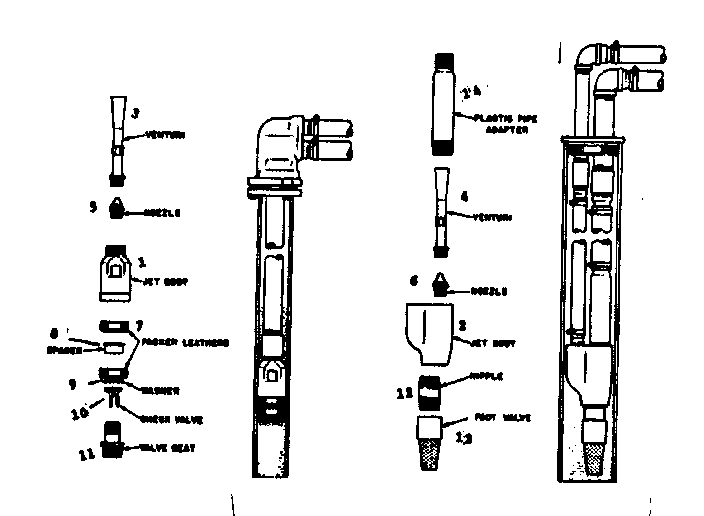 DEEP WELL JETS SINGLE & DOUBLE Diagram & Parts List for