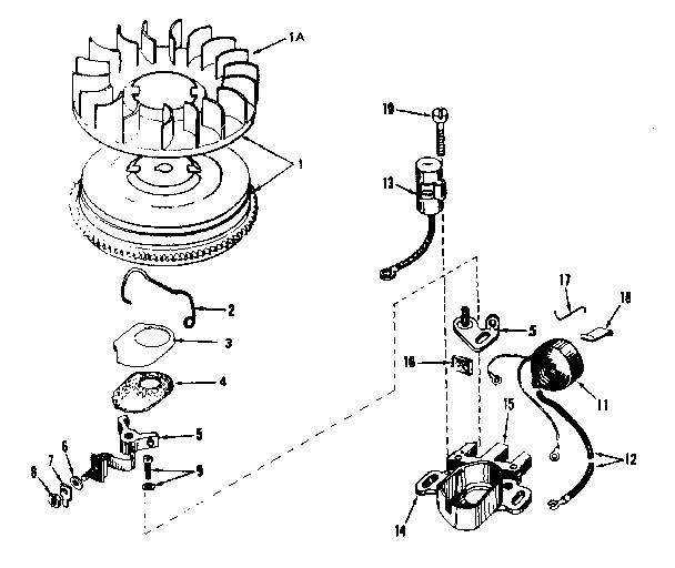 MAGNETO NO. 610848 Diagram & Parts List for Model