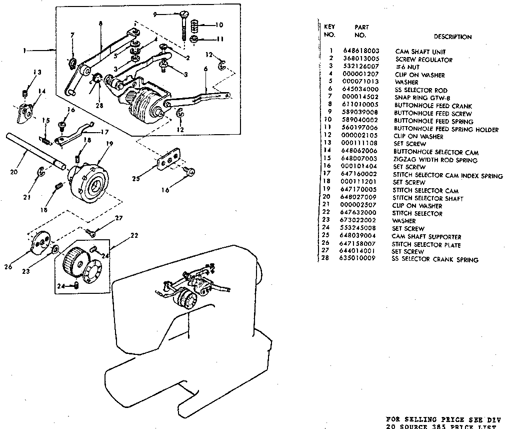 BUTTONHOLE FEED CRANK Diagram & Parts List for Model