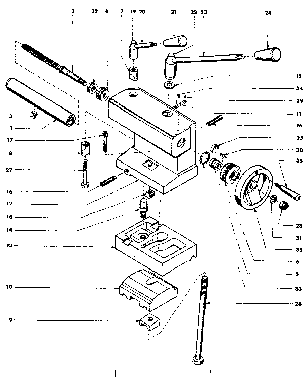 TAILSTOCK BARREL ASSEMBLY Diagram & Parts List for Model