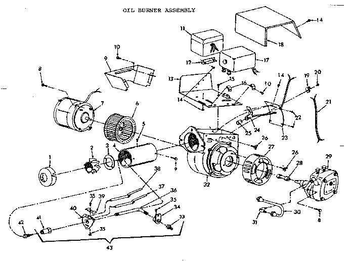 OIL BURNER ASSEMBLY Diagram & Parts List for Model FBL57