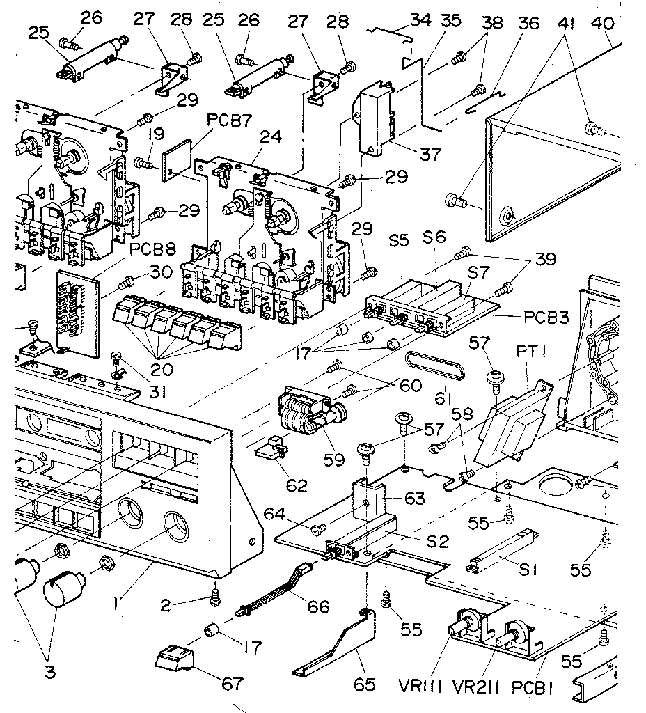 CASSETTE MECHANISM Diagram & Parts List for Model