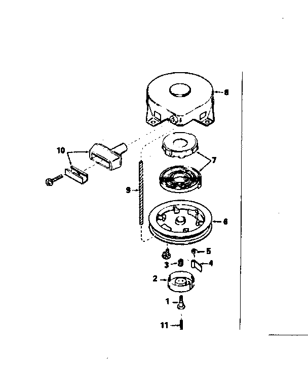 REWIND STARTER NO. 590420 Diagram & Parts List for Model