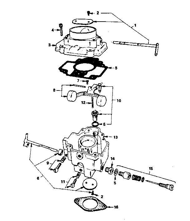 CARBURETOR PARTS Diagram & Parts List for Model