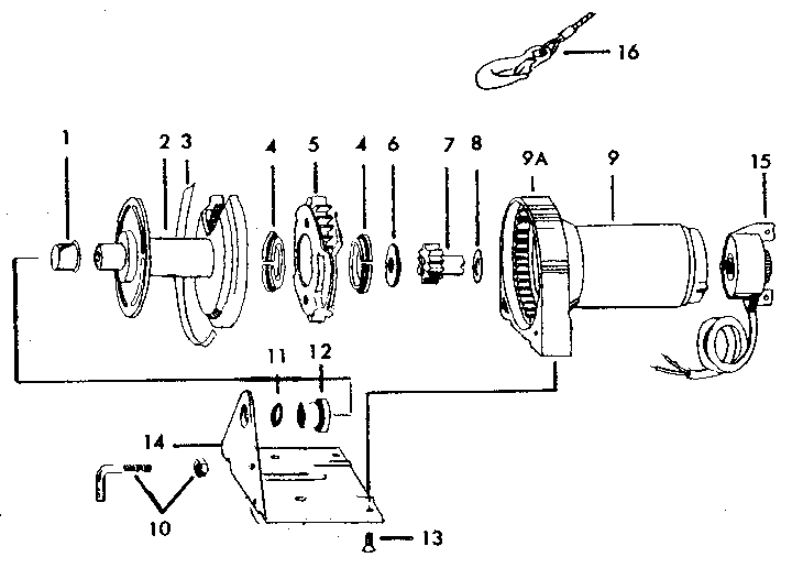 WINCH PARTS Diagram & Parts List for Model 61902 Craftsman