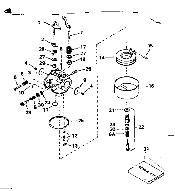 CARBURETOR NO. 631067A Diagram & Parts List for Model