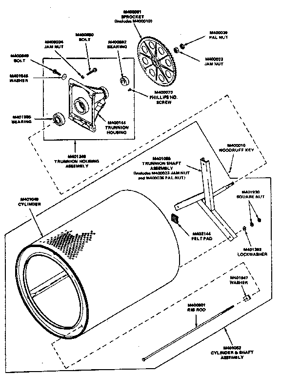 CYLINDER AND TRUNNION ASSEMBLIES Diagram & Parts List for