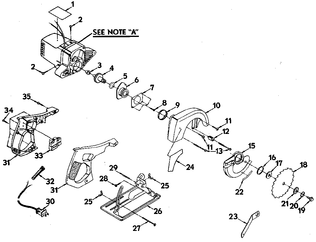 blade assy diagram and parts list for craftsman sawparts model