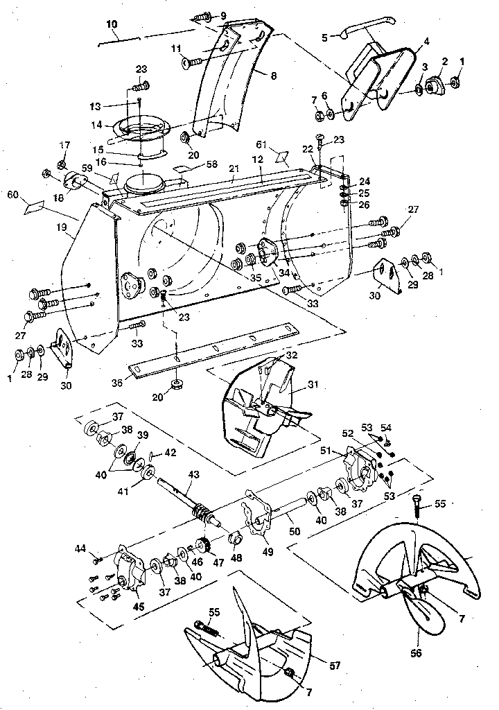 AUGER HOUSING ASSEMBLY Diagram & Parts List for Model