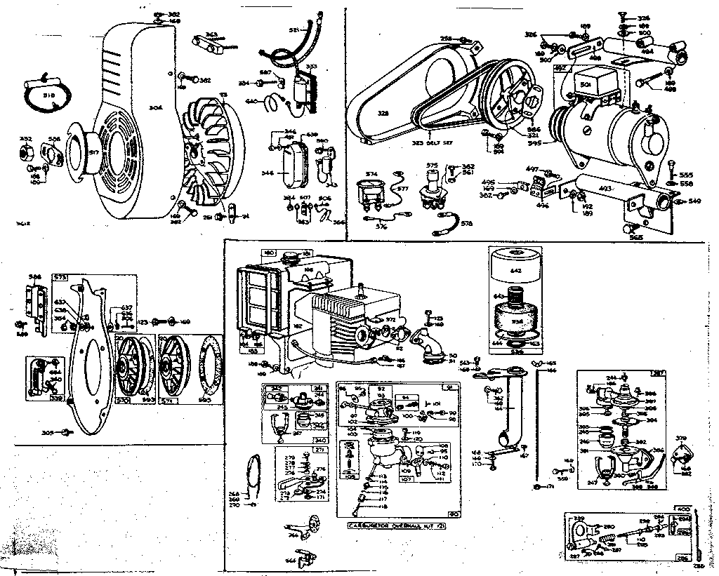 GENERATOR STARTER, CARBURETOR, AND FLYWHEEL ASSEMBLY