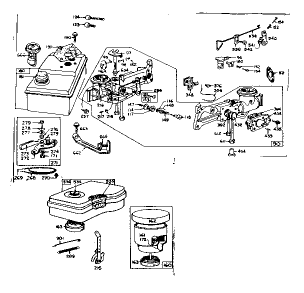 CARBURETOR AND FUEL TANK ASSEMBLY Diagram & Parts List for